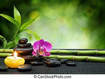 púrpura, orquídea, vela, piedras