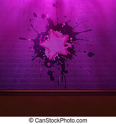 púrpura, pared, ladrillo, sombras