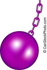 púrpura, pelota, diseño, destruir