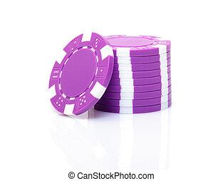 púrpura, pequeño, pedacitos del póker, pila