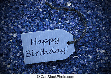 púrpura, piedras, con, etiqueta, feliz cumpleaños