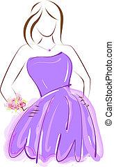 púrpura, prom, vestido, niña