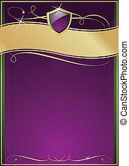 púrpura, protector, oro, y, verde, florido, página