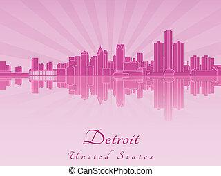 púrpura, radiante, contorno, detroit, orquídea