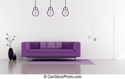 púrpura, sofá, en, un, minimalista, blanco, salón
