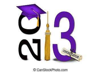 púrpura, sombrero, borla, grad, oro