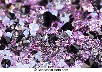 púrpura, superficial, campo, profundidad, lujo, plano de fondo, pequeño, piedras, gema