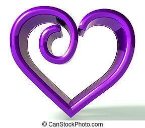 púrpura, swirly, corazón, 3d, imagen