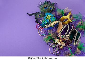 púrpura, text., espacio, gras, mardi, máscara, veneciano, ...
