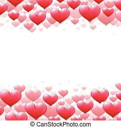 púrpura, valentines, dispersado, corazones, día, tarjeta