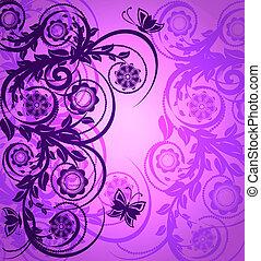 púrpura, vector, flo, ilustración