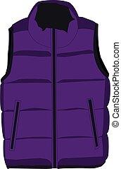púrpura, vector, ilustración, chaqueta sin mangas, realista...