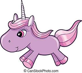 púrpura, vector, mal, animal, unicornio