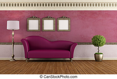 púrpura, vendimia, habitación