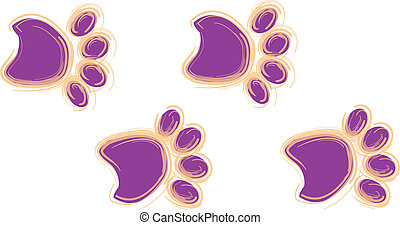 púrpura, y, naranja, pata imprime