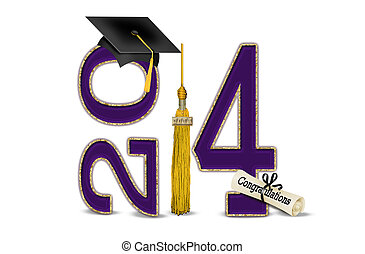 púrpura, y, oro, para, 2014, graduación