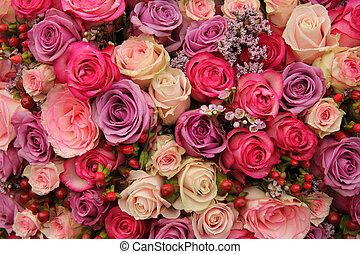 púrpura, y, rosas rosa, boda, arreglo