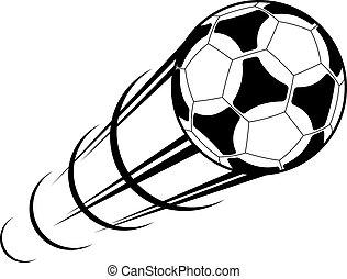 pędzenie, piłka do gry w nogę, z, niejaki, ślad ruchu