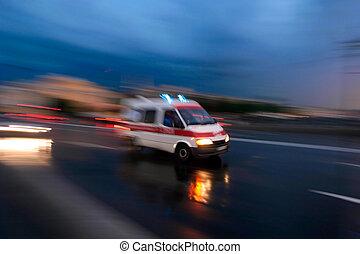 pędzenie, wóz, ambulans, ruch, zamazany