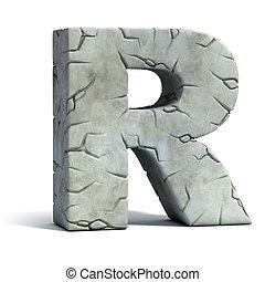 pęknięty, kamień litera, r