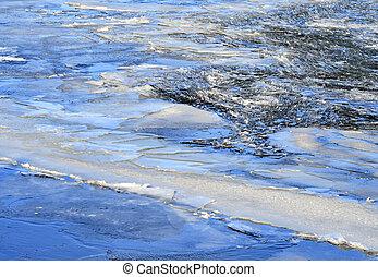 pęknięty, pływak, lód