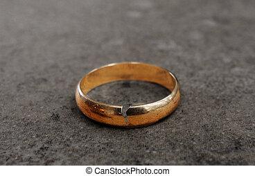 pęknięty, rozwód, ring