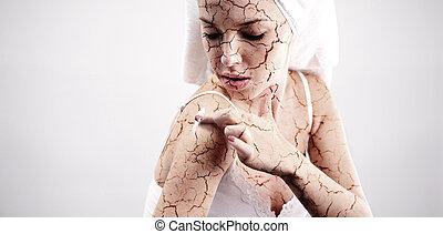pęknięty, traktowanie, skóra