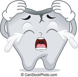 pęknięty, ząb, maskotka