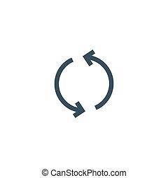 pętla, arrow., wektor, odświeżyć, reload, koło, symbol,...