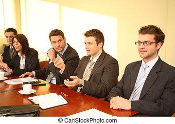 pět, business osoba, v, jeden, porada