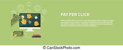 płacić, na, reklama, internet, wzór, stuknięcie