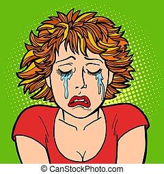 płacz, kobieta, ludzki, wzruszenia