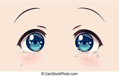płacz, oczy, dziewczyny, anime, (manga)