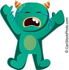 płacz, wektor, zielony potwór, ilustracja