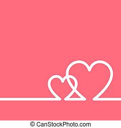 płaska sztuka, para, space., valentine, wektor, zaproszenie, serca, kreska, kopia, dzień, karta