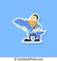 płaska sztuka, sprytny, fish, ilustracja, wektor, rybak, rysunek