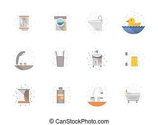 płaski, łazienka, ikony, kolor, zbiór, wektor