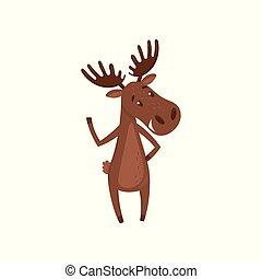 płaski, łoś, falować, paw., litera, elk., przyjacielski, założył nowe filie, wielki, wektor, eurazjatycki, las, zwierzę, projektować, rysunek, horns.