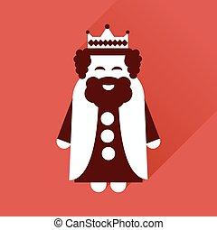 płaski, średniowieczny, król, długi, cień, ikona