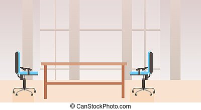 płaski, środek, biuro, nie, nowoczesny, ludzie, gabinet, miejsce pracy, biurko, wewnętrzny, co-working, twórczy, poziomy, opróżniać
