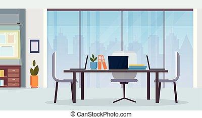 płaski, środek, biurowe ludzie, nowoczesny, twórczy, nie, workspace, biurko, wewnętrzny, co-working, poziomy, opróżniać, miejsce pracy