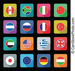 płaski, świat, bandera, ikony