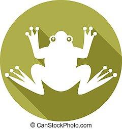 płaski, żaba, ikona