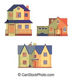 płaski, after., komplet, renowacja, wektor, dom, styl, rysunek, przed