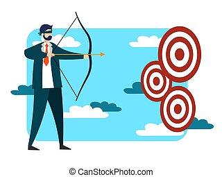 płaski, albo, uderzyć, tarcza, handlowa metafora, goal.,...