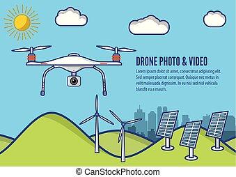 płaski, antena, aparat fotograficzny, wpływy, ilustracja, truteń, wektor, video, fotografia, concept., design.