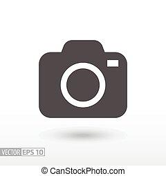 płaski, aparat fotograficzny, -, ikona