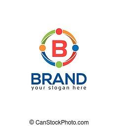 płaski, b, litera, logo, circle., design.