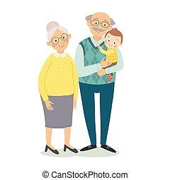 płaski, babcia, dziadkowie, concept., dziadek, odizolowany, ilustracja, dzień, grandchild., wektor, karta, tło, niemowlę, pociągnięty, biały, ręka, style., rysunek, powitanie