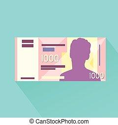 płaski, banknot, singapore, tysiąc, dolar, jeden, projektować